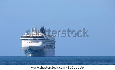 A cruise ship, Norwegian Spirit glides into Crown Bay in St Thomas, US Virgin Islands.