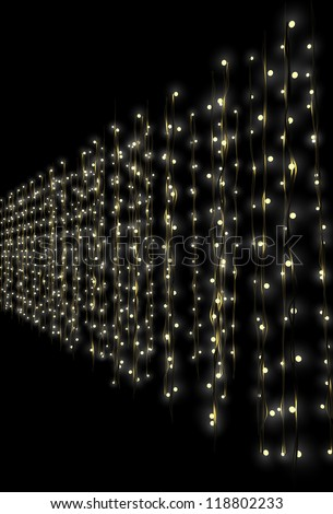 A curtain of illuminated fairy lights on a dark isolated background