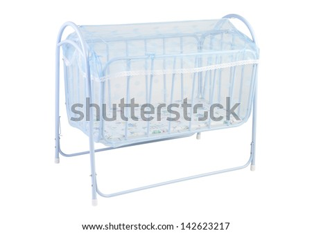 A cute baby cot with mosquito net