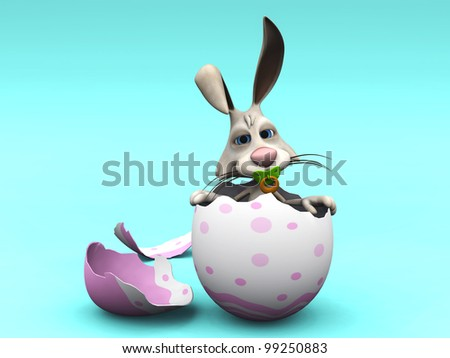 A cute newborn cartoon Easter Bunny with a pacifier in its mouth sitting in a broken eggshell. Blue background.
