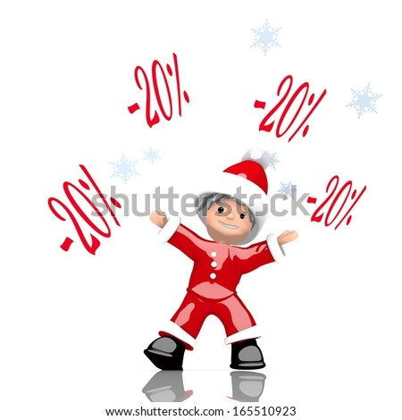 a cute Santa Claus boy rendered character juggles four discount symbol isolated on white background with snowflakes