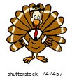 A cute Thanksgiving Turkey dressed as a pilgrim. - stock vector