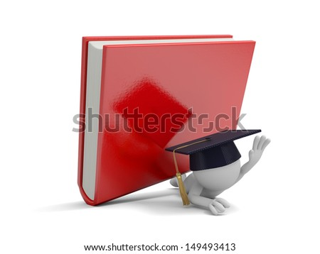 A 3d bachelor pressed by a red book