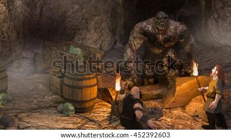 A 3d digital illustration of 2 dwarfs discovering a rock troll in their cave while mining.