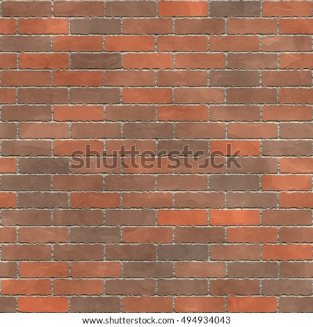 A 3d illustrated seamless tile of a brick wall with mortar and brown and orange bricks.