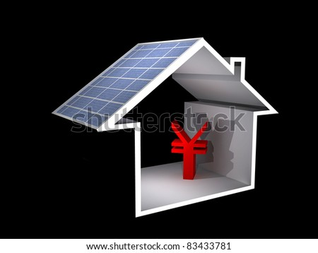 a 3d illustration of a house with solar panel and rmb sign