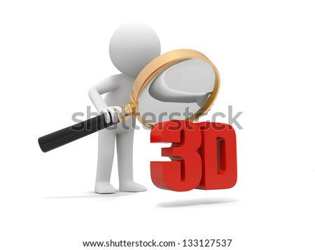A 3d man watching a 3d word with a magnifying glass