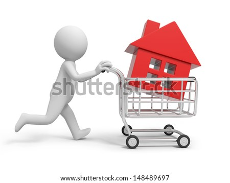 A 3d person/ a house in the shopping cart