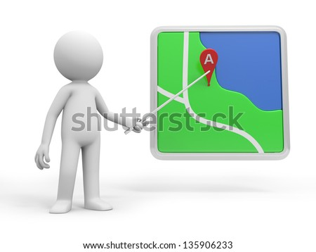 A 3d person pointing at a navigator with a stick