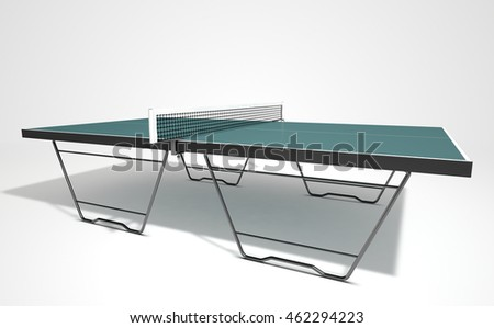 A 3d render of a table tennis table on an isolated white studio background