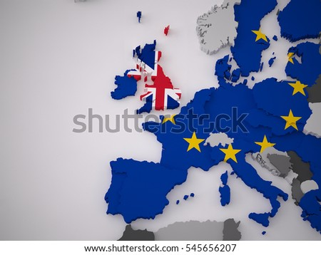 a 3d rendering european map with a flag of a specific country