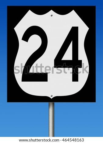 A 3d rendering of a highway sign for Route 24