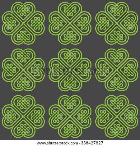 A dark seamless pattern made of Celtic style knots, illustration