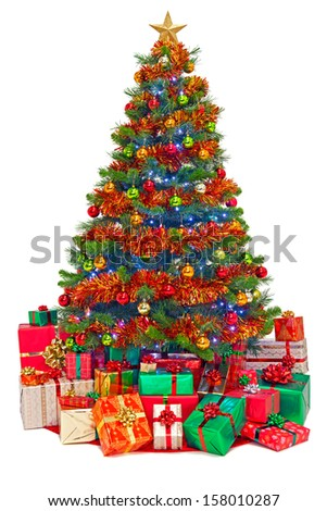 A decorated Christmas tree with gift wrapped presents, isolated on a white background.