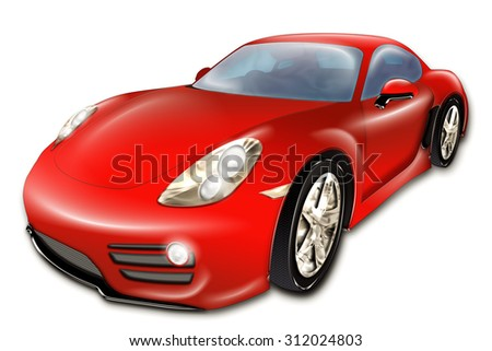 A digital drawing of a red modern sport car, isolated on white background