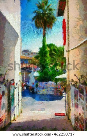 A Digital painting of the colorful backstreets of Kusadasi Turkey