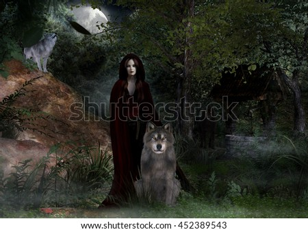 A digital render of a woman wearing a red cloak with three wolves around her in the woods at night.