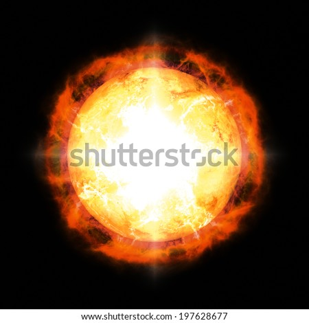 A digitally created image of a sun with flares in space.