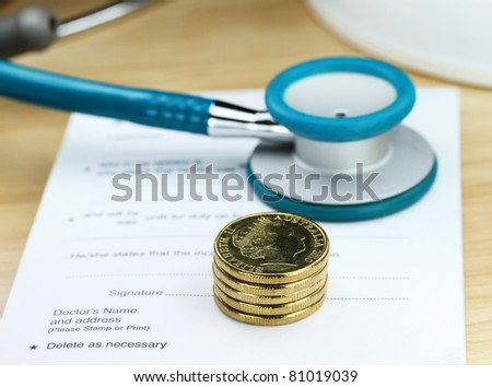 A doctor's desk showing a light blue colored stethoscope, stack of gold coins and sick certificate pad, suggesting the price of keeping healthy is rising.