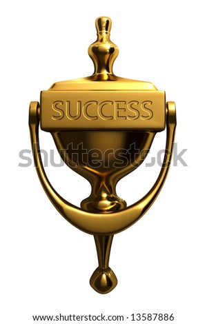 "A door knocker with ""success"" text, isolated on white background - 3d render"