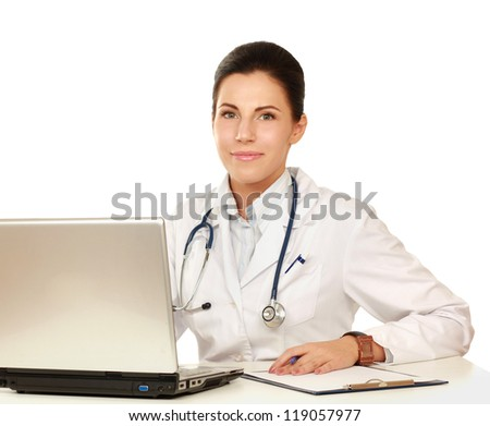 A female doctor working isolated on white background