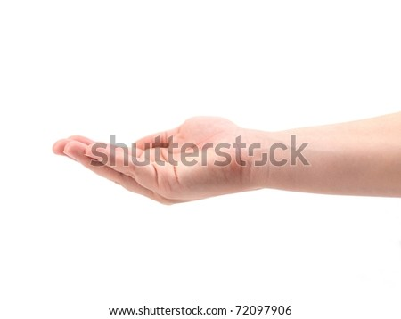 A female hand isolated against a white background