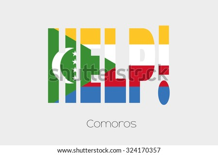 A Flag Illustration inside the word Help of the country of Comoros