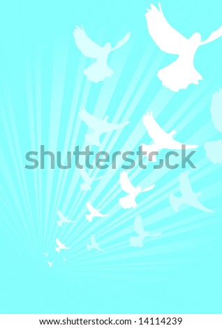 A flock of doves flying beneath rays of light