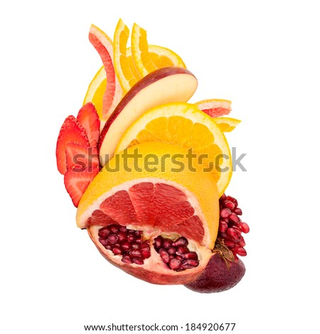 A food concept of a healthy human heart made of fruits full of vitamins, isolated on white.