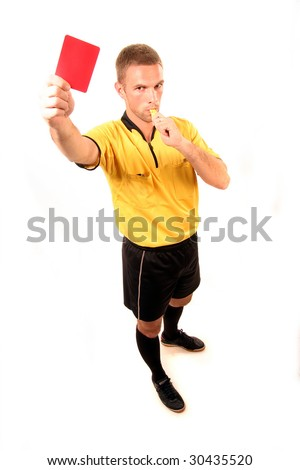 a football judge with red card and whistle