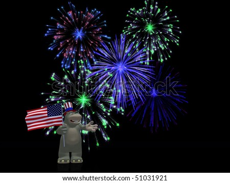A friendly cartoon hippo wearing a hat and holding the American flag, celebrating  Independence day on the 4th of July with fireworks. Black background.