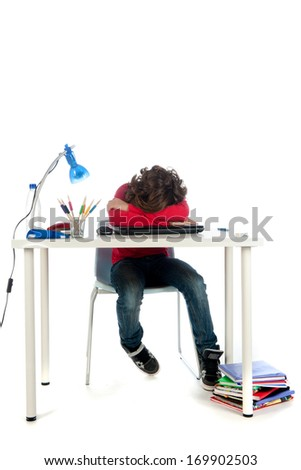 a frustrated student, trying to do his homework. On a white background.