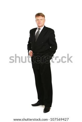 A full length portrait of businessman standing, isolated on white background