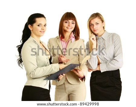 A full-length portrait of businesswomen with folder,document, isolated on white background