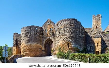 A GAte in the wall of the historic Town of Domme, Dordogne-Perigord, France