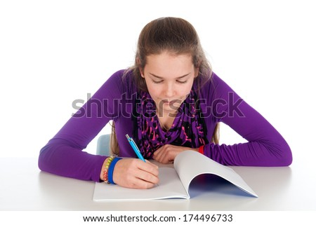 a girl is making her homework, on a white background