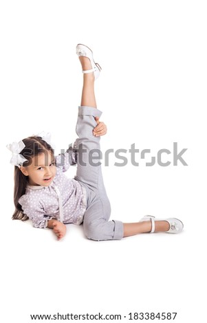 A girl making gymnastic exercise