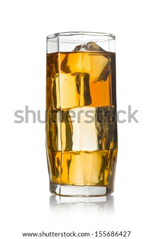 A glass of Ice Tea on white. With clipping path