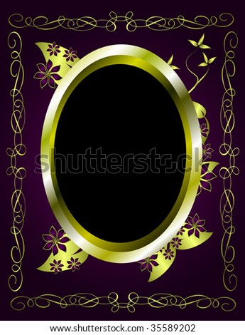 A gold floral design with room for text on a rich deep purple background