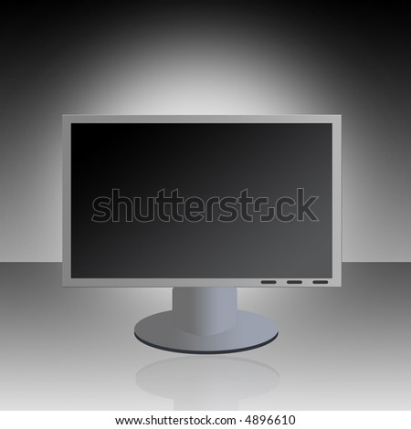 A graphic LCD monitor with reflection against a gradient background.