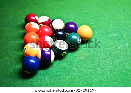 a group of color billiards ball before game start