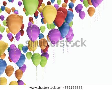 A group of colorful balloons isolated white background. 3d render