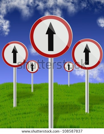 a group of traffic signs all showing direction up with blue sky in the background / traffic direction signs up