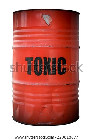 A Grunge Red Barrel Or Drum Filled With Toxic Waste