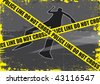A grunge styled illustration on a crime based theme. A body outline with police tape set on a grunge style background. - stock vector