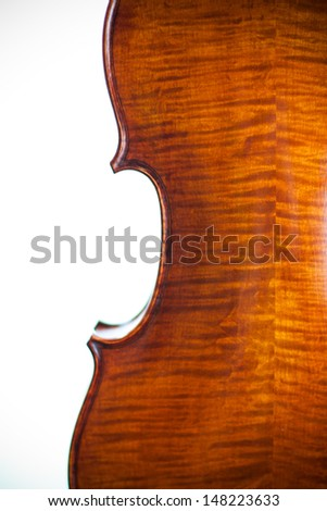 A hand crafted violin with focus on back panel