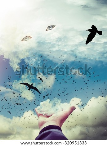 a hand holding a cloud in the sky with eyes. black birds flying away . Image is on the subject of God, internal life of the soul, spirituality and magic. Digital art illustration
