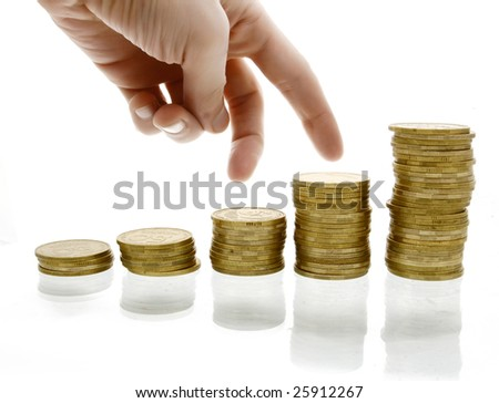 A hand steps on money diagram