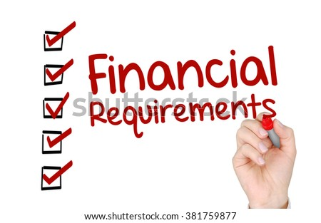 A hand with a marker writing 'Financial Requirements'.