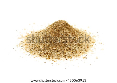 a handful of salt and spices on a white background